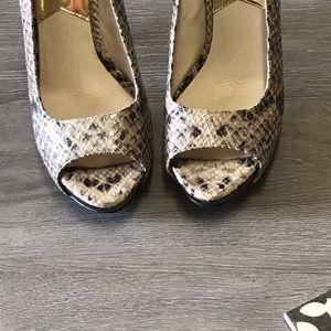 Michael Kors snakeskin peep toe pump